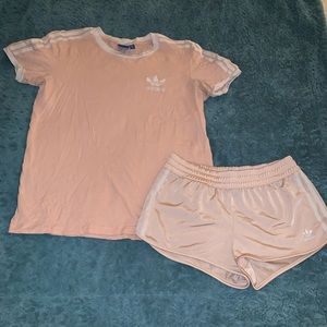 Adidas 3 stripe shorts & shirt set